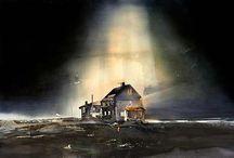 Landskap akvarell