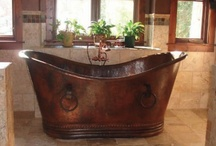 Copper Bathtubs / Rustic style copper bathtub from rusticsinks.com We carry many styles and sizes to choose from in copper and nickel. / by Rustic Sinks