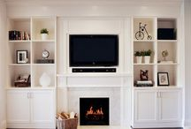Fireplace with book shelves