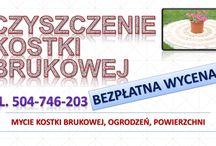 Czyszczenie i mycie kostki brukowej  cena tel. 504-746-203. Wrocław / Czyszczenie kostki brukowej,podjazdów, chodników.  Mycie elewacji budynków z cegły klinkierowej.  Mycie płotów drewna , powierzchni płaskich, tarasów, kafli. Cennik mycia i czyszczenia kostki brukowej jest ustalany indywidualnie dla każdego zlecenia. Cena zależy od stopnia zabrudzenia, rodzaju oraz wielkości powierzchni. tel. 504-746-203.