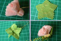 Flores em tecido ou feltro