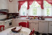 my red and white vintage kitchen /one day/ / bright,breezy and colourful