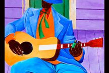 """Colorful Works of Ivey Hayes / Love how he captures the peanut and cotton-pickers, fishermen, quilters, musicians and dancers.  Amazing color, can feel his """"roots""""."""