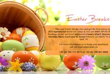 Easter Break, 2016 / Plan your Easter Breaks now and get the best prices with ZEN Apartments! Book For 5 Days & You can SAVE UP TO 10% for all bookings at our Serviced Apartments Canary Wharf, Discovery Dock, Meridian Place, Excel and 02 Arena between 1st March '16 and 5th of April '16!  For more information or to book your apartment call our reservation team on +44 (0) 788 737 8873 or +44 (0) 799 001 0099