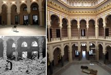 destroyed libraries (by men) / culture v. barbarism  Inter arma silent musae