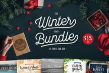 Winter Font Bundle - Cultivated Mind / Introducing the Winter Bundle! This font bundle is an amazing collection of 25 bestselling handmade fonts plus 5 bonus fonts & lot's of vector art!