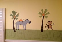 Safari nursery mural / This couple had a cute wallpaper border that they wanted enlarged on their wall. Kid Murals by Dana Railey can paint pretty much anything! Please check out http://www.facebook.com/kidmuralsbydanarailey for more!