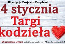 Targi Rękodzieła Projektu Peopleart III edycja / Zapraszamy serdecznie na III edycję cyklicznych, comiesięcznych Artystycznych Targów Rękodzieła Projektu Peopleart, które odbędą się w Centrum Skorosze w Warszawie w Ursusie.  Targi Peopleart to: - absolutnie fantastyczni ludzie, - fantastyczne wyroby (handmade, obrazy, dodatki, biżuteria, ubrania itp), - fantastyczne miejsce i atmosfera,  - muzyka na żywo, - konkursy - malowanie dziecięcych buziek.  Dołącz do Nas: email: peopleart@wp.pl https://www.facebook.com/projektpeopleart