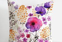 Watercolor pillow decorative