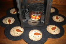 Christmas penny rugs