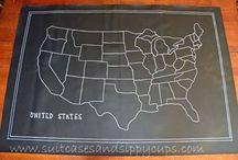 Chalk board USA map