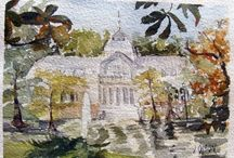 Original Watercolor Paintings for Sale - Plein Air / I'm making a series of the fountains found in the beautiful park located in #Madrid, Spain called #El Buen Retiro.  I go there when I can and paint them in # Plein Air. victoriaangelesolson@hotmail.com