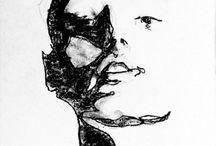 Lee woodman portret met houdskool