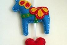 swedish dala horses / the beautiful little painted folk art horses