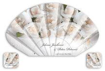 wedding paper fans / wedding paper (cardboard) fans, with a ribbon and label for easy carrying, printed in ofset from one up to  full color, small series...