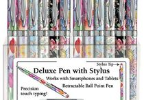 Floral Ball Point Pens with Touch Screen Stylus Tips / Beautiful, feminine ball point pens in floral patterns.  Touch Screen Stylus Tips at opposite end!
