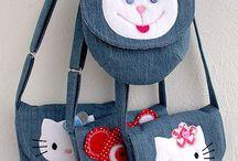 Kids denim kitty bags