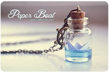 Paper Boat bottle Necklace. Ocean necklace, Glass Vial Necklace. Glass Bottle Pendant. Cute Necklace. Miniature bottle via Etsy