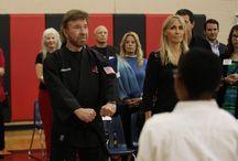 2015 Bush Middle School Winter Belt Ceremony / The Kickstart Kids Program in Dulles Middle School celebrate their winter belt ceremony with special guests, Founders Chuck and Gena Norris.