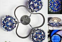 Our works: stained glass and felted lamps
