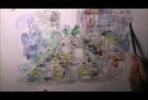 new york / Urbane Szenen in New York, Architektur, Straßen und Plätze als Skizze