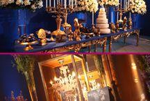 festa azul e dourado
