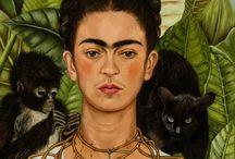 Frida Kahlo Gemälde / Frida Kahlo de Rivera war eine mexikanische Malerin. Sie zählt zu den bedeutendsten Vertreterinnen einer volkstümlichen Entfaltung des Surrealismus, wobei ihr Werk bisweilen Elemente der Neuen Sachlichkeit zeigt.