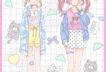 cute girls pastel