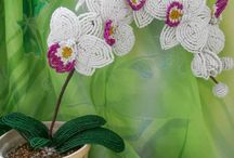 Beaded flowers and Orchids