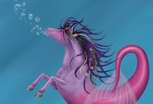 Hippocamps / Hippocamp In Greek mythology, a half-horse, half-fish creature. aka: merhorse, hippocampus, hippocampe, seahorse, sea horse / by Heather D