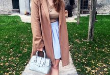 Baby Blue skirt on Camel Coat casual street style