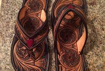 Leather shoes, boots, flip-flop
