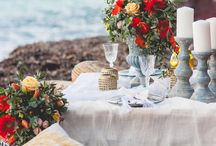Decorating wedding in Santorini