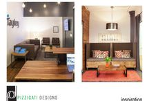 Industrial chic in NYC... Eco Friendly DIY Office Interior Design / Here's another fun office design project we completed… It was for a marketing agency that wanted a rustic/ industrial vibe for their new NYC office location. They were looking for something colorful, original and fun that speaks to their brand and employee lifestyle. Here's the eco chic design plan I came up with for them…