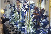 Dekoracja sali -niebieski, granat