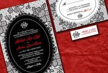 Vintage lace wedding in red and black / Vintage lace wedding in black white and red romantic wedding invitations