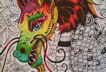 Dragon,skull and shield.