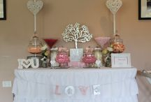 Coral, silver and dusty pink candy buffet. By candy land buffets newcastle. Raffertys resort. Wedding candy buffet / All things gorgeous and sweet for your special day