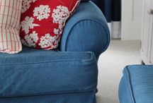 Ellen's Cottage Denim Slipcovers / Tough, washable slipcovers in cheery indigo blue denim. What's not too love for summer living at the cottage?