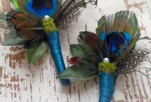 Teal and gold / Inspired blues and greens with peacock feathers