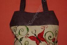 Handbags / Torebki zdobione ręcznie, wykonane ze sztucznego zamszu oraz bawełny