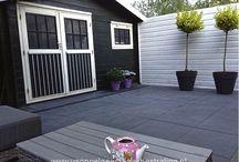 Sierbestrating met betonnen tegels/stenen / Foto's van eigen projecten; bestrating met betonnen bestratingsmaterialen