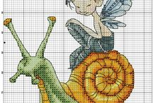 Cross stitch - snails