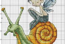 Cross stitch - snails