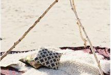 // Boho Beach Bridal Shoot // / Boho inspired: tribal prints, tee pee, pillows, feathers, beach blankets, turquoise, black and white.