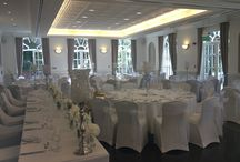 Venue Styling By Ethereal Events / Chair Covers, Napkin Ties, Table and Bridge Swagging