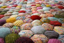 Knitted hexagonal blanket