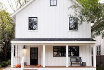 White painted wooden siding