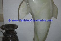 ONYX DOLPHINS FISH WHITE ONYX HANDCARVED STATUE SCULPTURE