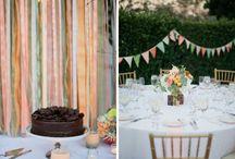 Streamers and bunting at an Inn at Rancho Santa Fe Wedding by Troy Grover - enfianced